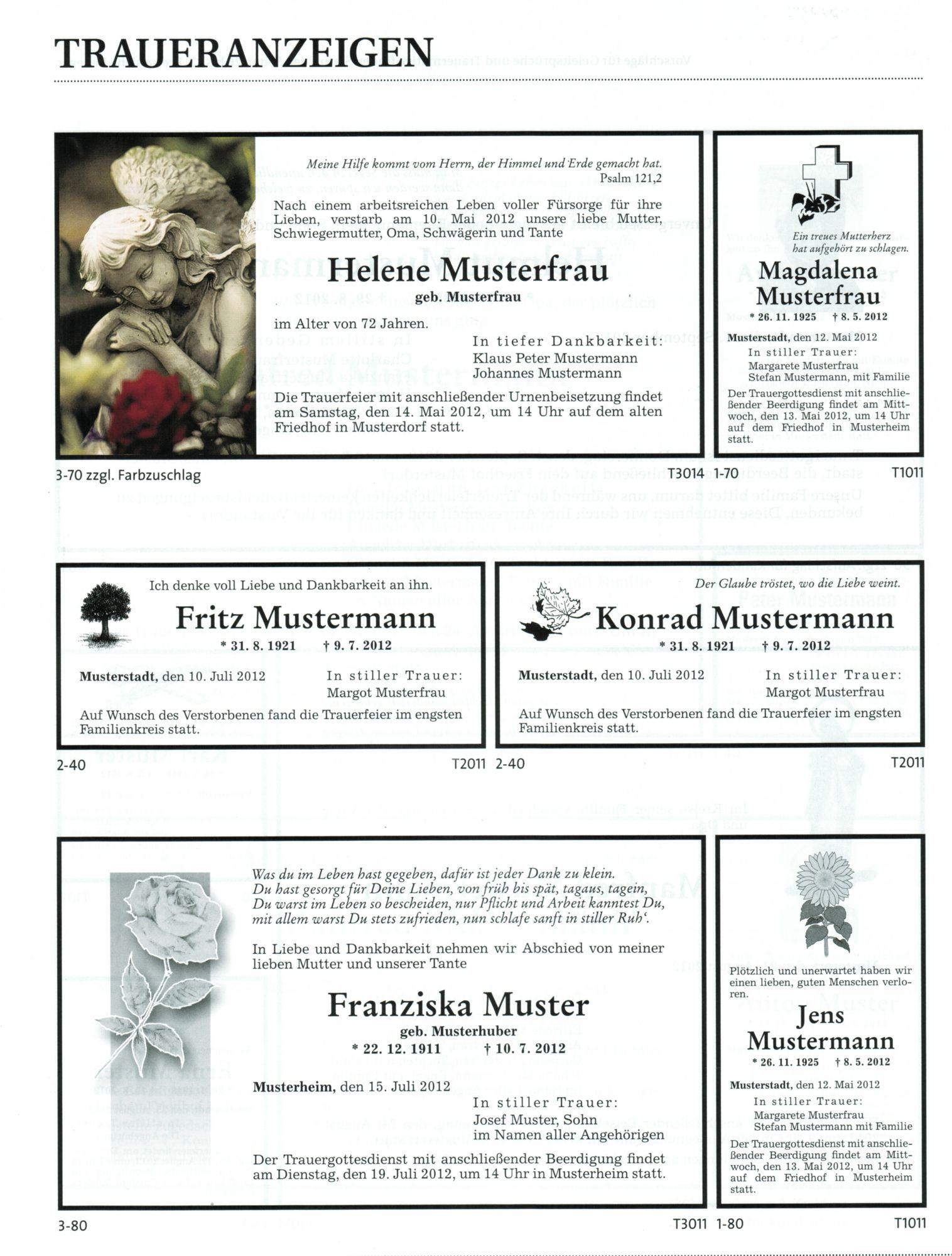 Trauerdruck Bestattungen Welzmüller